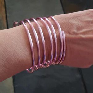 """Jewelry - Pink """"Spring"""" Bracelet, Plastic over Metal, approx"""